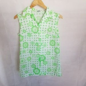 1960s Pykettes Sleeveless Green & White Shirt